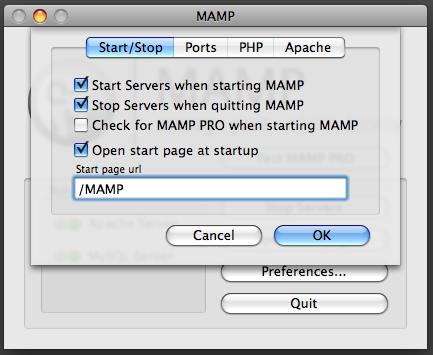 MAMP Start Page setting