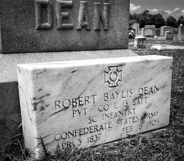 Robert Bayless Dean, PVT CO E 13 BATT, SC Infantry, Confederate States Army, Apr 3, 1837, Feb 18, 1905