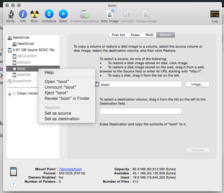 Unmount a disk in OSX